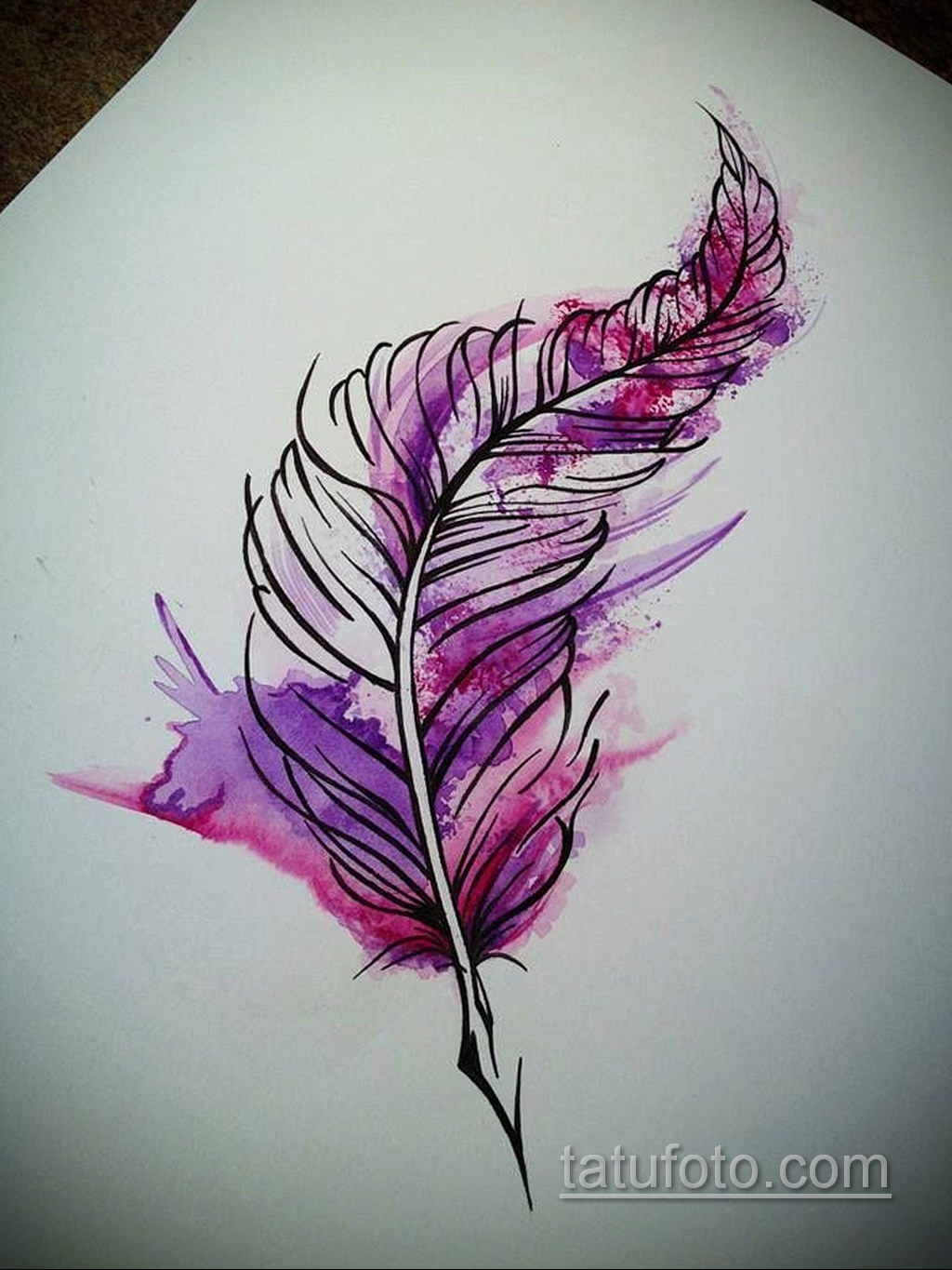 эскиз для тату перо феникса 26.09.2019 №009 -sketch feather tattoo- tatufoto.com