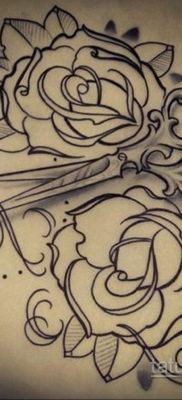 эскиз для тату роза простая 15.09.2019 №076 – sketch for rose tattoo simple – tatufoto.com