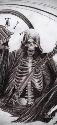 эскиз для тату смерть с часами 19.09.2019 №007 – sketch for tattoo death wit – tatufoto.com
