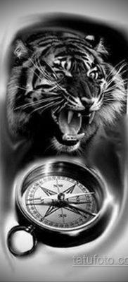 эскиз для тату тигр и часы 19.09.2019 №001 – sketch for tiger tattoo and watc – tatufoto.com