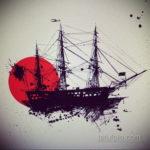 эскиз для тату фрегата 27.09.2019 №005 -sketch frigate tattoo- tatufoto.com