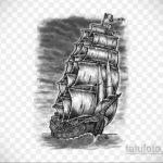 эскиз для тату фрегата 27.09.2019 №012 -sketch frigate tattoo- tatufoto.com
