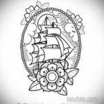 эскиз для тату фрегата 27.09.2019 №021 -sketch frigate tattoo- tatufoto.com