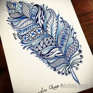 эскиз для тату цветное перо 26.09.2019 №018 -sketch feather tattoo- tatufoto.com