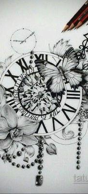 эскиз для тату часы время 19.09.2019 №019 – sketch for tattoo watch time – tatufoto.com