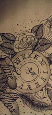 эскиз для тату часы время 19.09.2019 №044 – sketch for tattoo watch time – tatufoto.com