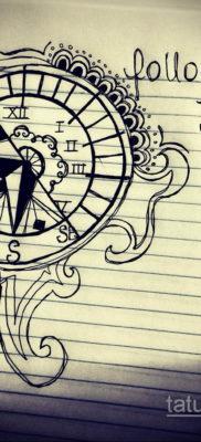 эскиз для тату часы и компас 19.09.2019 №004 – sketch for tattoo watch and – tatufoto.com