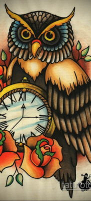 эскиз для тату часы и сова 19.09.2019 №009 – sketch for watch and owl tattoo – tatufoto.com