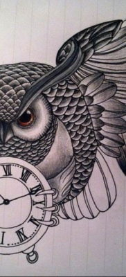 эскиз для тату часы и сова 19.09.2019 №010 – sketch for watch and owl tattoo – tatufoto.com