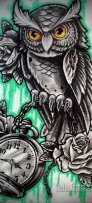 эскиз для тату часы и сова 19.09.2019 №024 – sketch for watch and owl tattoo – tatufoto.com