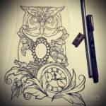 эскиз для тату часы и сова 19.09.2019 №025 - sketch for watch and owl tattoo - tatufoto.com