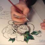 эскиз для тату часы на руке 19.09.2019 №006 - sketch for tattoo watch on ha - tatufoto.com