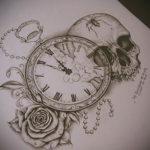 эскиз для тату часы реализм 19.09.2019 №007 - sketch for tattoo watches rea - tatufoto.com