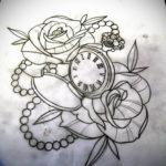 эскиз для тату часы с розами 19.09.2019 №003 - sketch for tattoo watch with - tatufoto.com