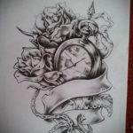 эскиз для тату часы с розами 19.09.2019 №004 - sketch for tattoo watch with - tatufoto.com