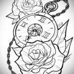 эскиз для тату часы с розами 19.09.2019 №012 - sketch for tattoo watch with - tatufoto.com