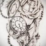 эскиз для тату часы с розами 19.09.2019 №014 - sketch for tattoo watch with - tatufoto.com