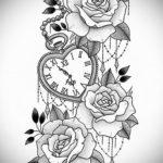 эскиз для тату часы с розами 19.09.2019 №020 - sketch for tattoo watch with - tatufoto.com