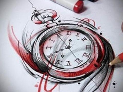 эскиз для тату часы треш полька 19.09.2019 №007 - sketch for tattoo watch t - tatufoto.com