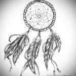 эскиз женская тату ловец снов 14.09.2019 №028 - sketch female dreamcatch - tatufoto.com