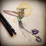 эскиз тату колибри цветная 16.09.2019 №023 - color sketch hummingbird tatto - tatufoto.com