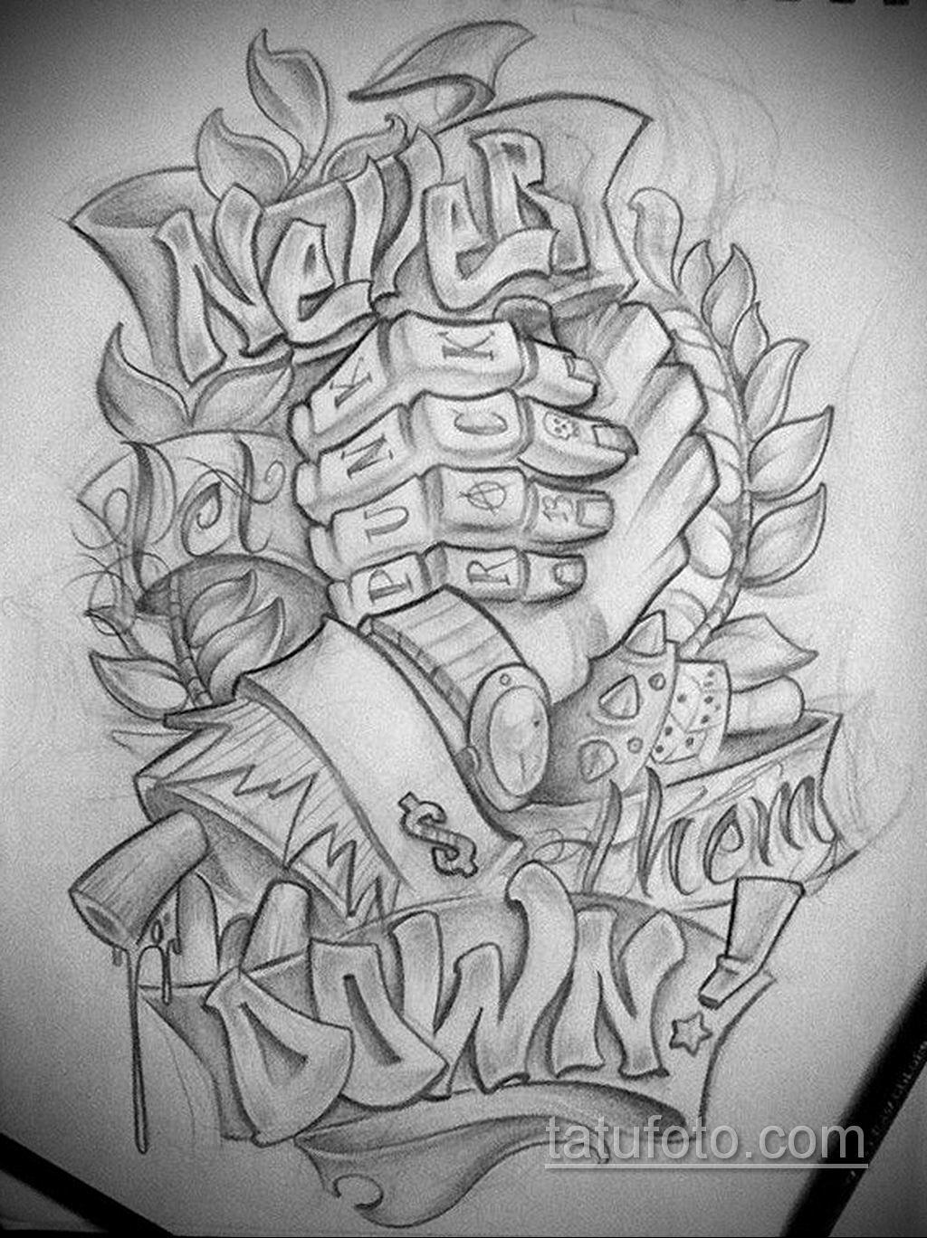 эскиз тату надпись чикано 14.09.2019 №025 - Chicano tattoo sketch - tatufoto.com