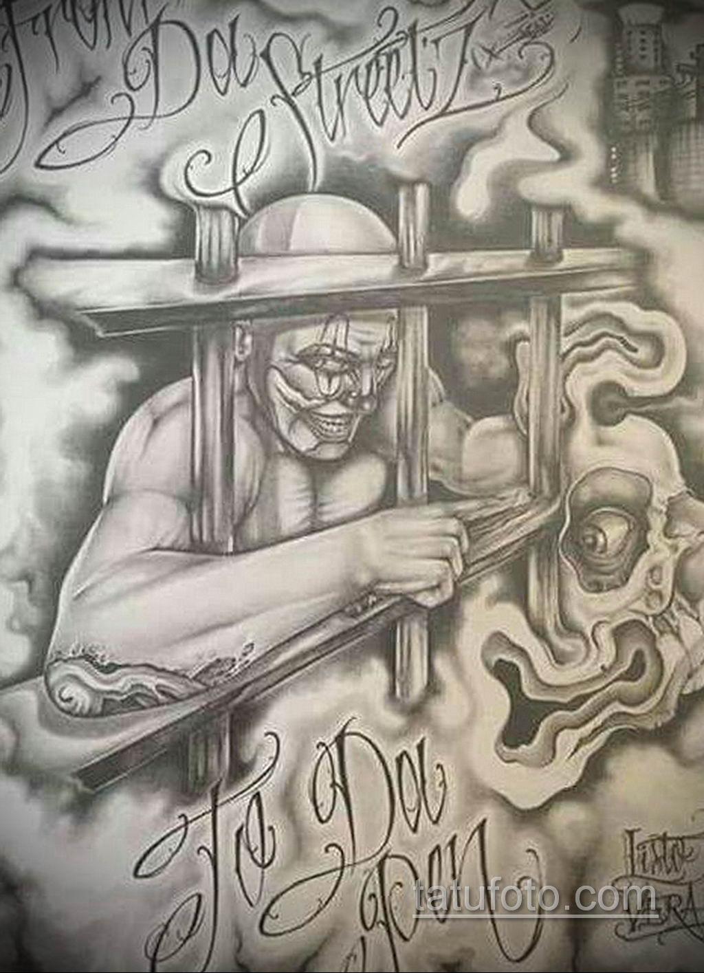 эскиз тату надпись чикано 14.09.2019 №027 - Chicano tattoo sketch - tatufoto.com
