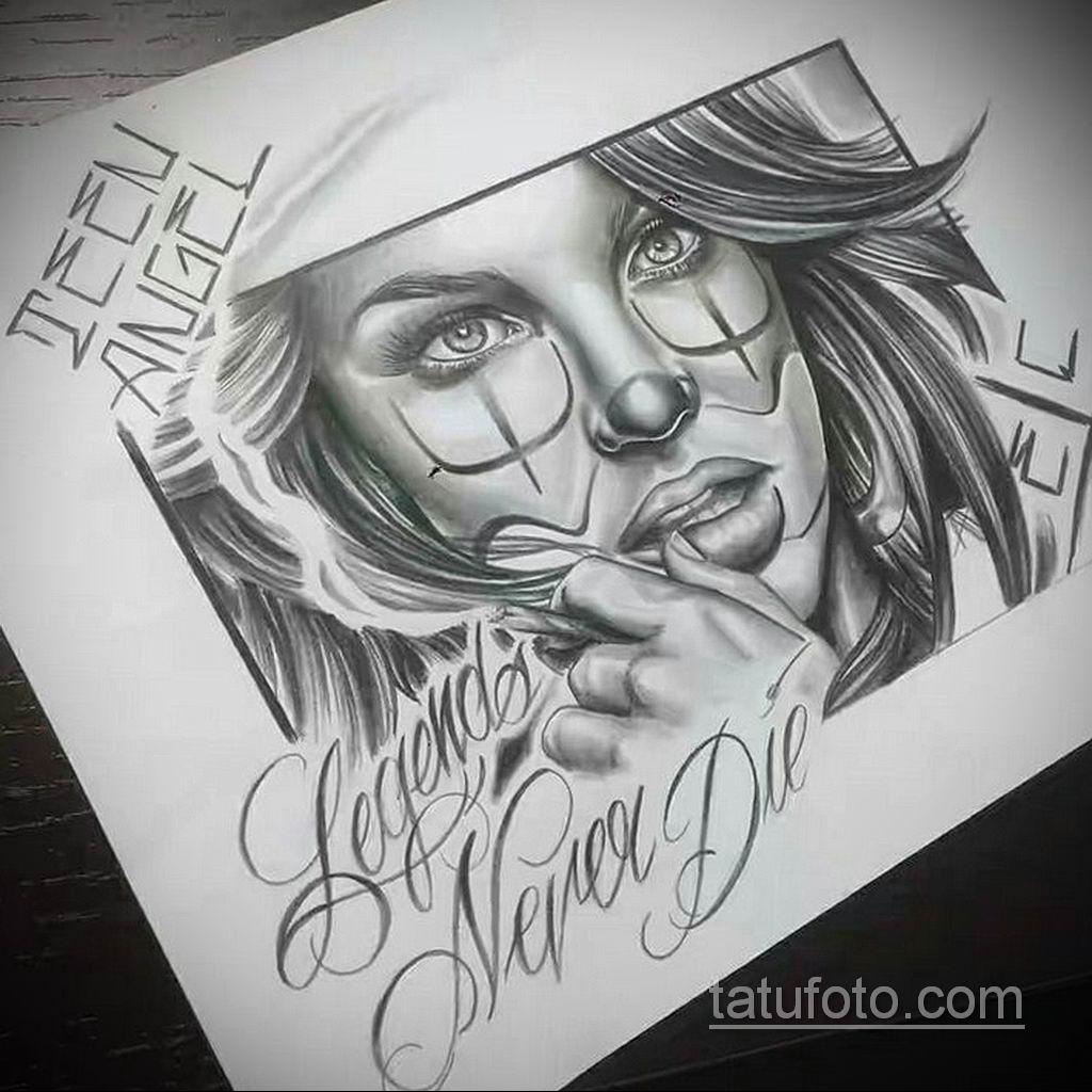 эскиз тату надпись чикано 14.09.2019 №040 - Chicano tattoo sketch - tatufoto.com