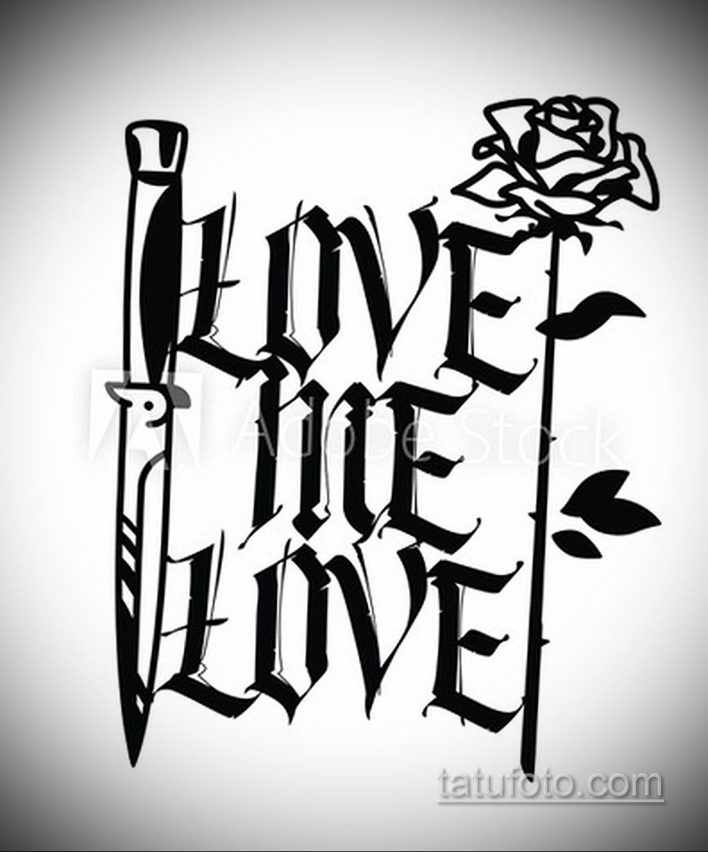 эскиз тату роза с надписью 14.09.2019 №001 - sketch rose tattoo with the ins - tatufoto.com