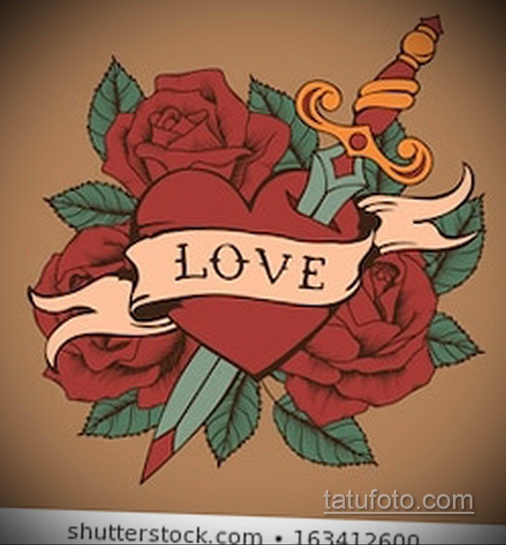 эскиз тату роза с надписью 14.09.2019 №008 - sketch rose tattoo with the ins - tatufoto.com