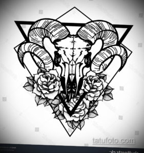 эскиз тату череп с рогами 17.09.2019 №015 - Skull tattoo sketch with horns - tatufoto.com