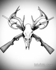 эскиз тату череп с рогами 17.09.2019 №022 - Skull tattoo sketch with horns - tatufoto.com
