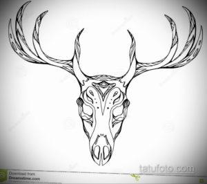 эскиз тату череп с рогами 17.09.2019 №030 - Skull tattoo sketch with horns - tatufoto.com