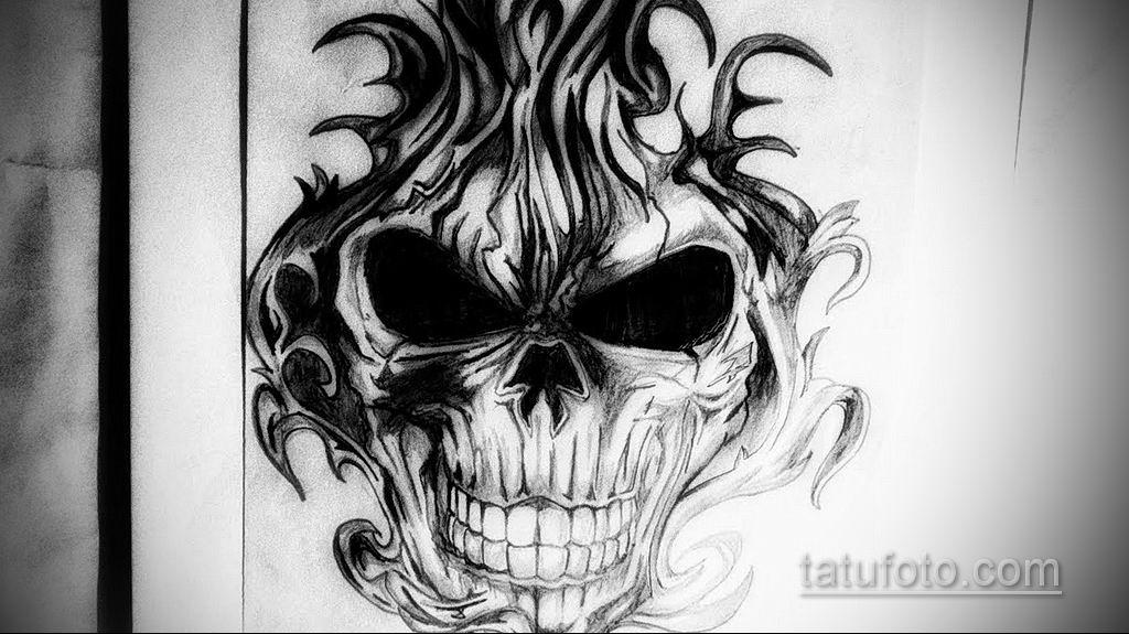 эскиз тату черные черепа 17.09.2019 №020 - black skull tattoo sketch - tatufoto.com
