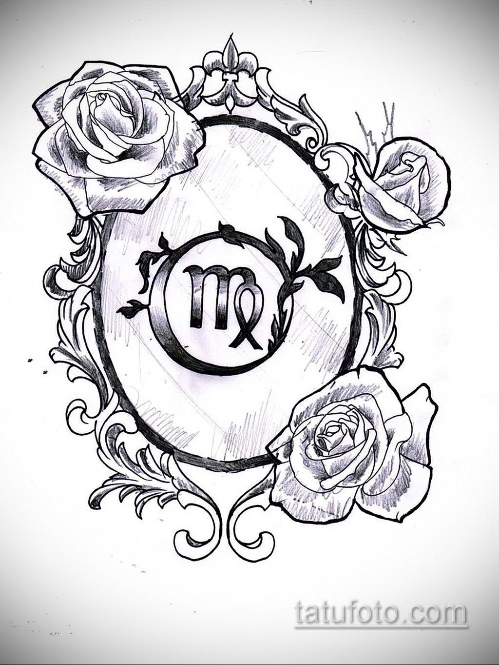 Эскиз для татуировки знак зодиака дева 06.10.2019 №001 -Virgo Tattoo- tatufoto.com