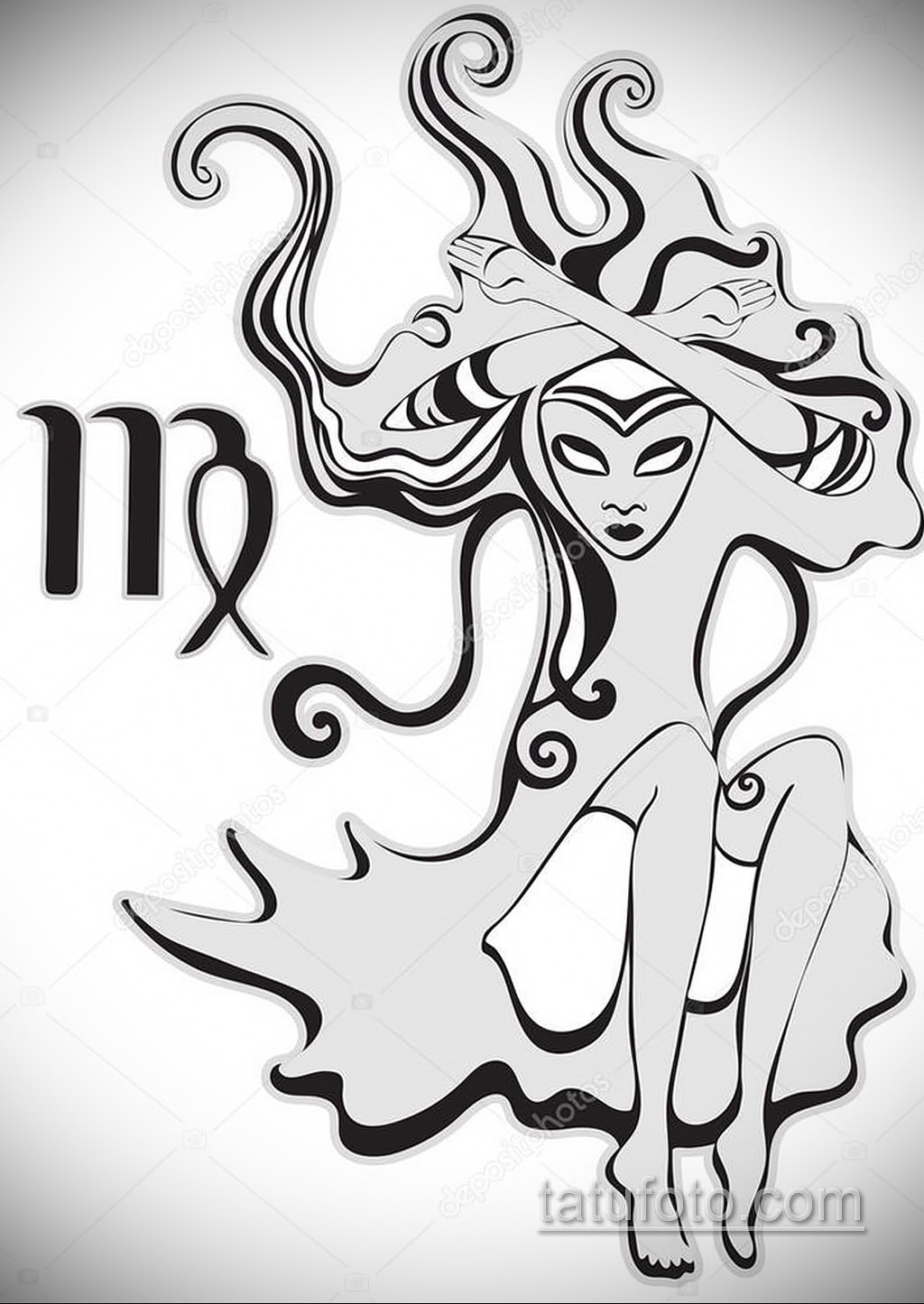 Эскиз для тату знак зодиака дева женский 03.10.2019 №002 -Virgo Tattoo- tatufoto.com