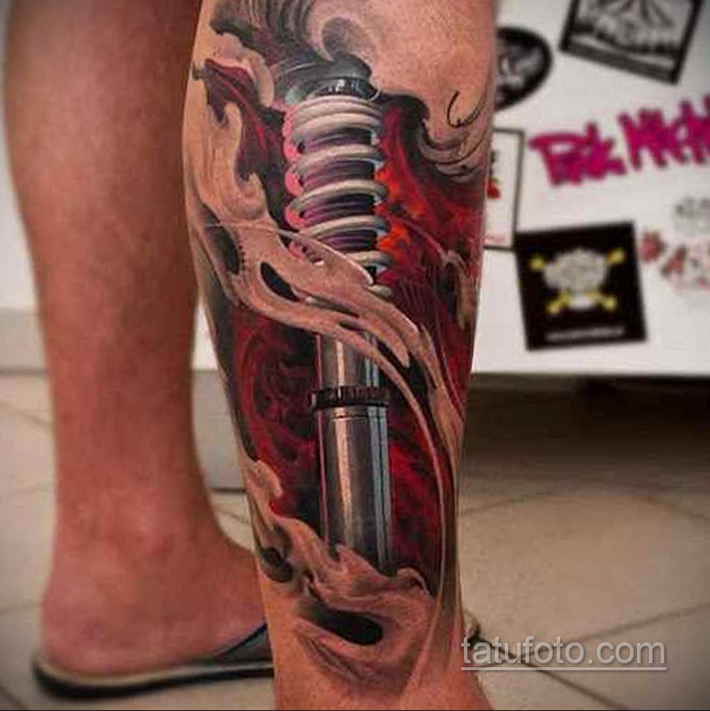 биомеханика тату на ноге 31.10.2019 №006 - biomechanics of leg tattoos - tatufoto.com