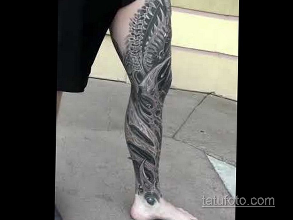 биомеханика тату на ноге 31.10.2019 №012 - biomechanics of leg tattoos - tatufoto.com