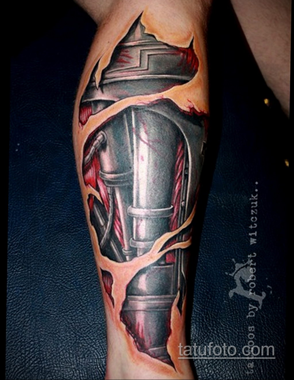 биомеханика тату на ноге 31.10.2019 №018 - biomechanics of leg tattoos - tatufoto.com