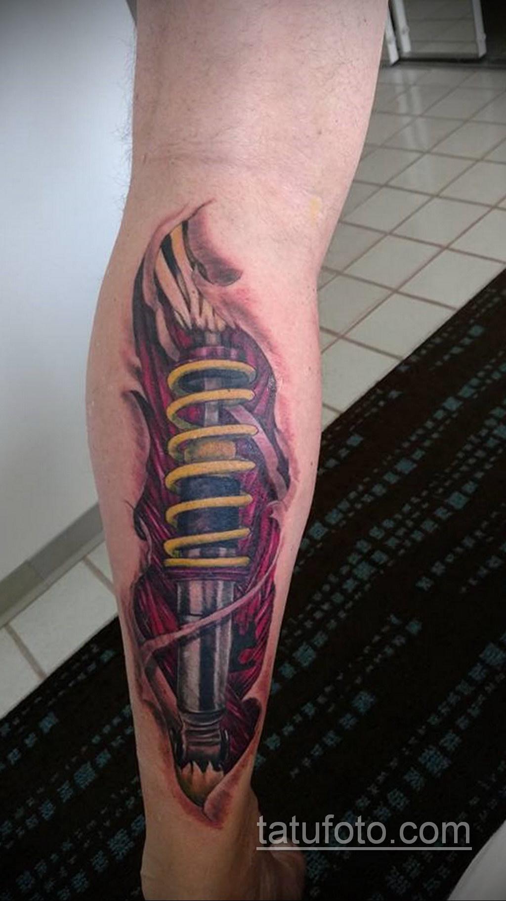 биомеханика тату на ноге 31.10.2019 №020 - biomechanics of leg tattoos - tatufoto.com