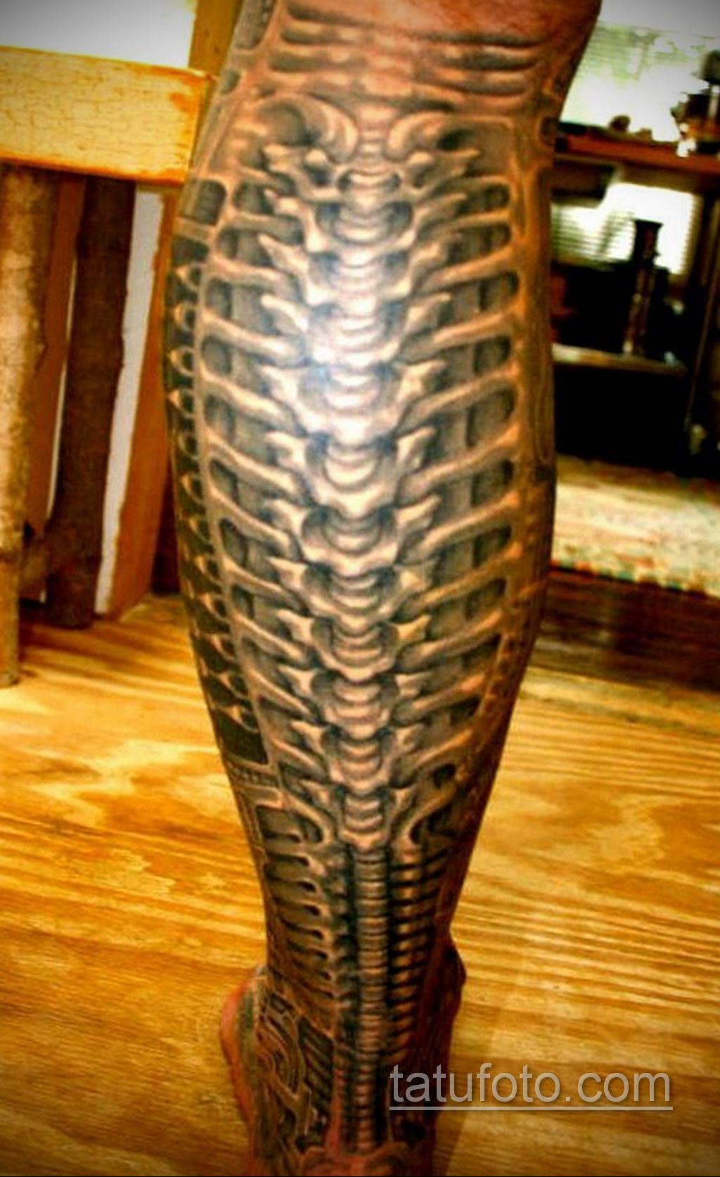 биомеханика тату на ноге 31.10.2019 №024 - biomechanics of leg tattoos - tatufoto.com