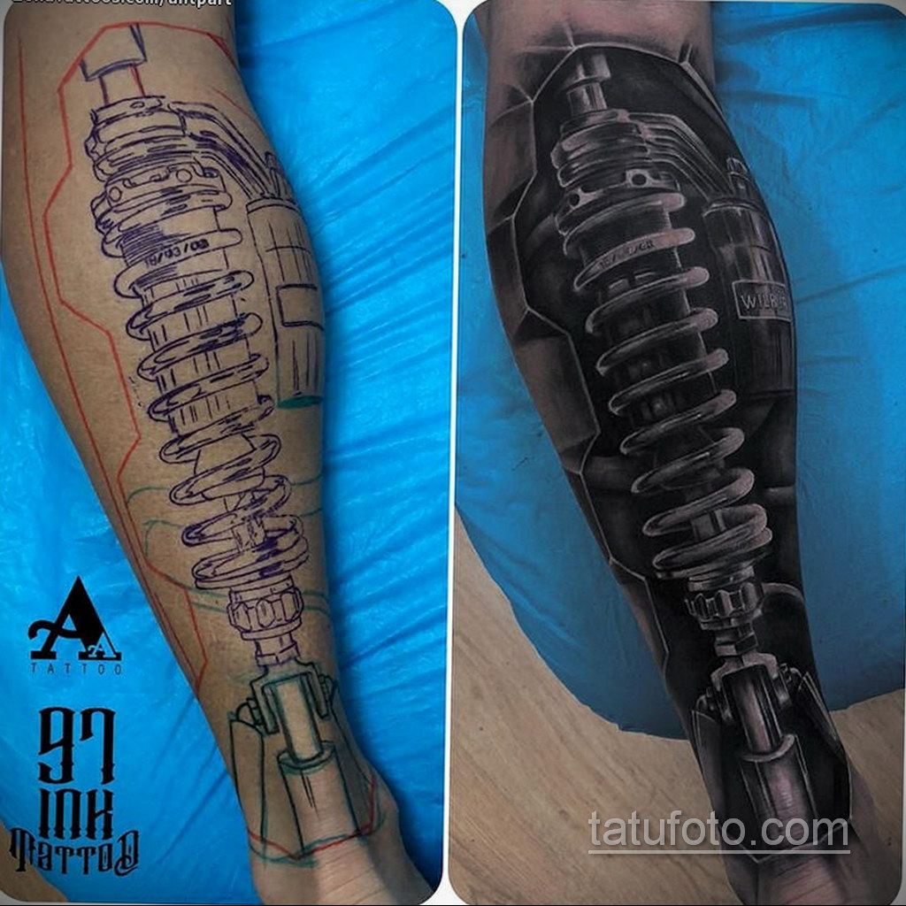 биомеханика тату на ноге 31.10.2019 №030 - biomechanics of leg tattoos - tatufoto.com