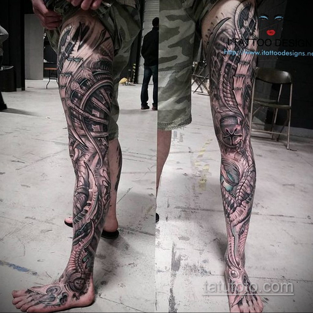 биомеханика тату на ноге 31.10.2019 №035 - biomechanics of leg tattoos - tatufoto.com