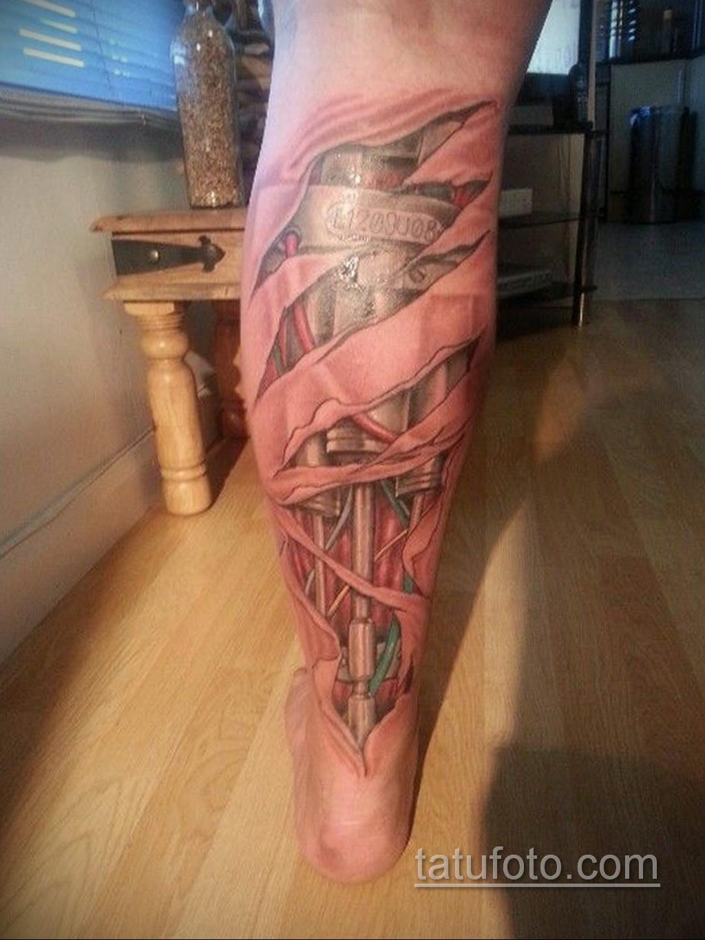 биомеханика тату на ноге 31.10.2019 №044 - biomechanics of leg tattoos - tatufoto.com