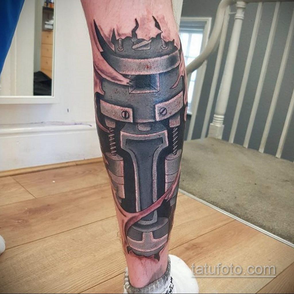 биомеханика тату на ноге 31.10.2019 №046 - biomechanics of leg tattoos - tatufoto.com