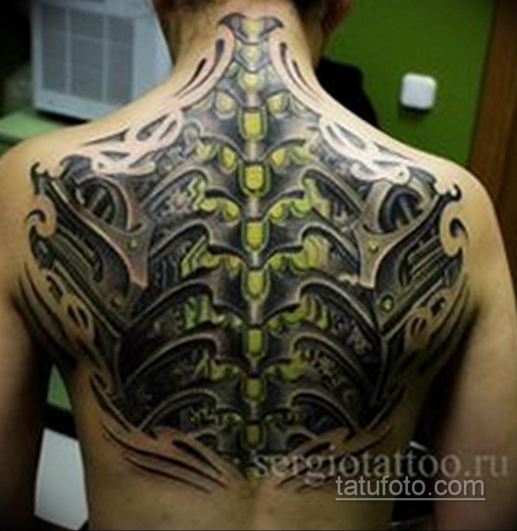 биомеханика тату на спине 31.10.2019 №017 - back biomechanics tattoo - tatufoto.com