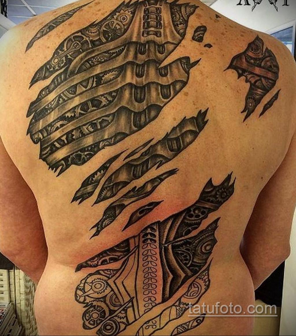 биомеханика тату на спине 31.10.2019 №019 - back biomechanics tattoo - tatufoto.com
