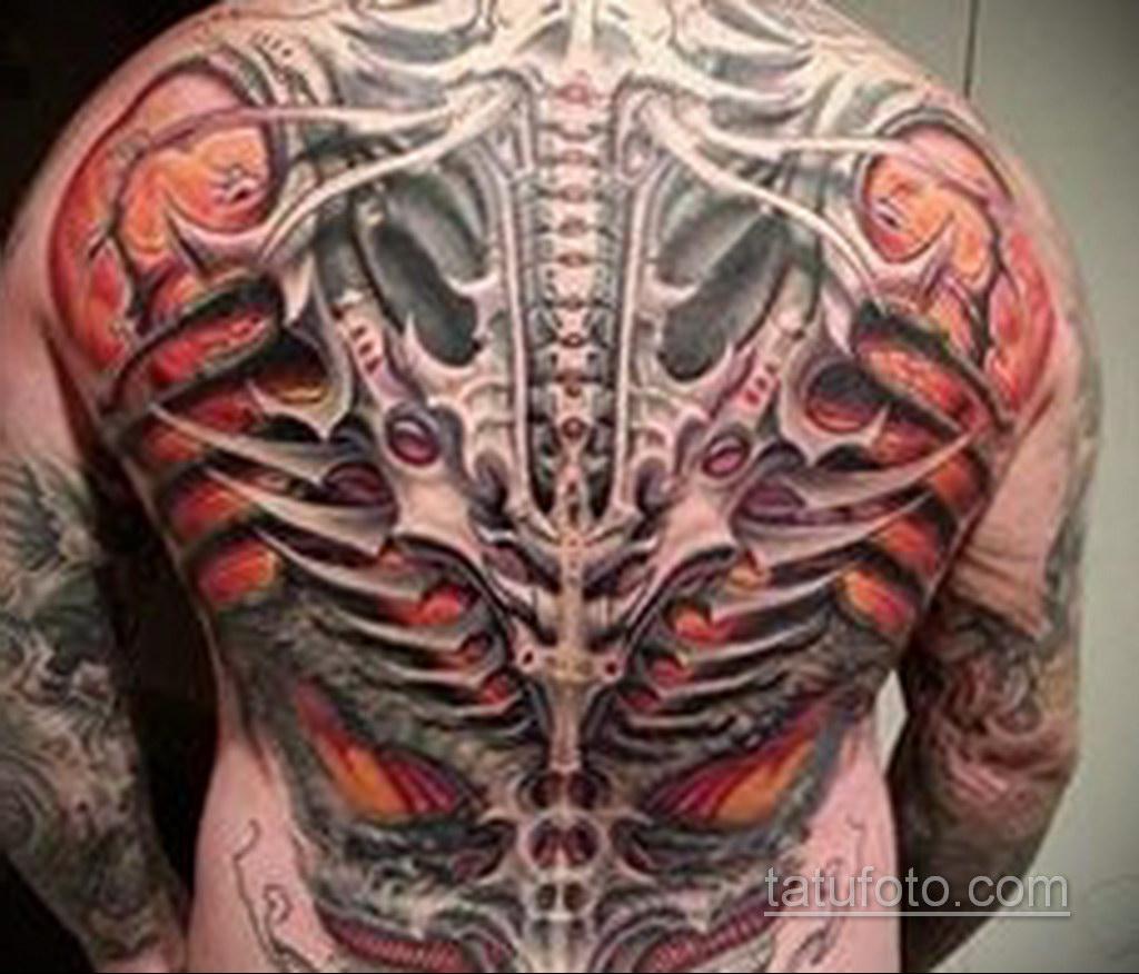 биомеханика тату на спине 31.10.2019 №026 - back biomechanics tattoo - tatufoto.com