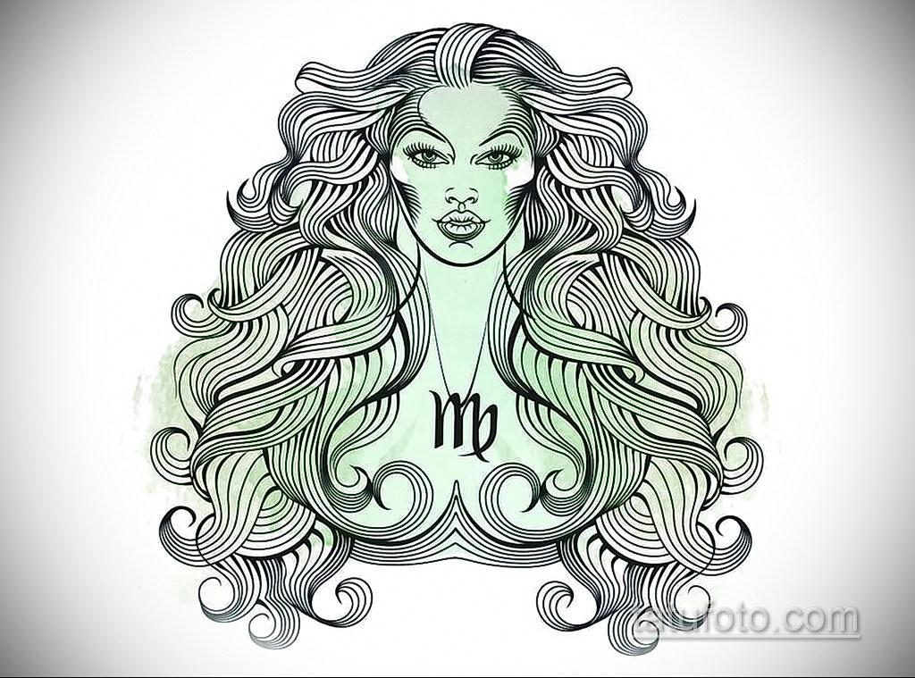 пример эскиза для татуировки знак девы 06.10.2019 №011 -Virgo Tattoo- tatufoto.com