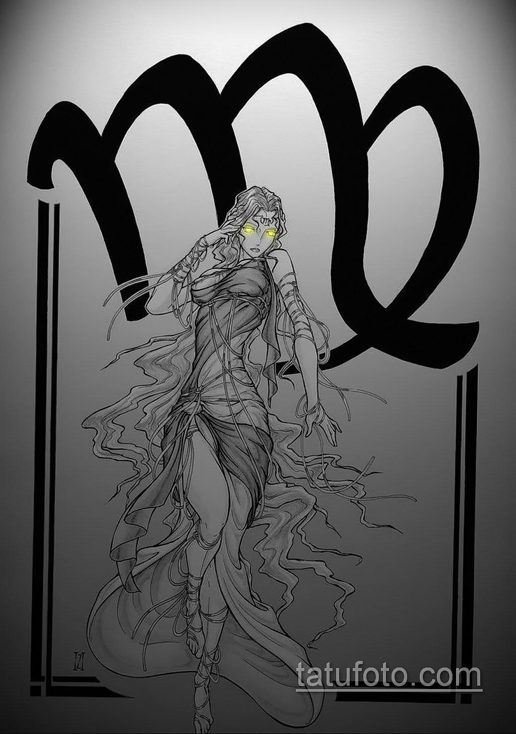 пример эскиза для татуировки знак девы 06.10.2019 №020 -Virgo Tattoo- tatufoto.com